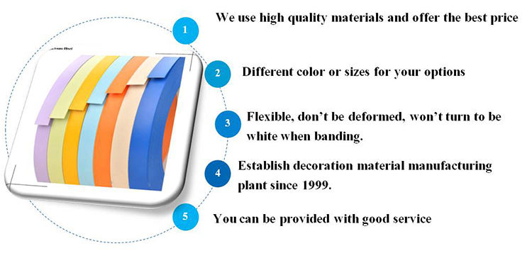 hot products pvc plastic trim strip table solid color edging banding tape for cabinet furniture door